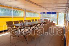 Верхняя полуоткрытая палуба с тентом на теплоходе Будьмо - Katera.ua